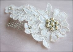 Vintage Lace Bridal Comb with pearl and rhinestone brooch, vintage lace headpiece by GracefullyGirly on Etsy, $46.00