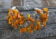 Armbänder - Orange Koralle Armband - ein Designerstück von dndezart bei DaWanda