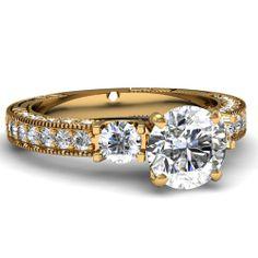 Round Cut Diamond Engagement Rings With White Diamond In 18K Yellow Gold   Milgrain Bordered Ring   Fascinating Diamonds