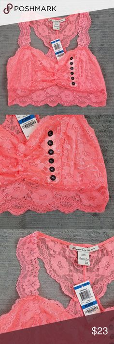 NWT Coral Lace Bralette Sz XL American Rag brand coral colored Racerback lace bralette with a gathered front. 90% Nylon, 10 Spandex American Rag Intimates & Sleepwear