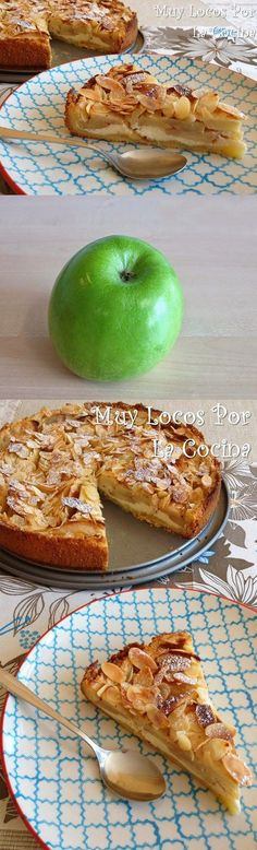 Apple pie, cheese and almonds Apple Desserts, Köstliche Desserts, Apple Recipes, Sweet Recipes, Delicious Desserts, Cake Recipes, Dessert Recipes, Yummy Food, Sweet Pie
