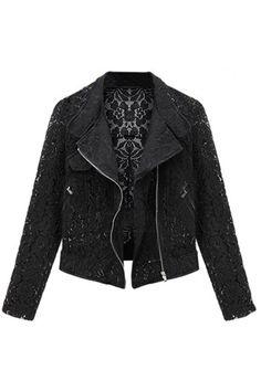 Hollowed Flower Details Black Lace Short Coat - Fashion Clothing, Latest Street Fashion At Abaday.com
