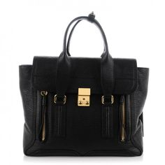 This is an authentic 3. 1 PHILLIP LIM Textured Calfskin Medium Pashli Satchel in Black.