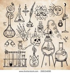 Tatto Ideas 2017 – Set of trendy vector Alchemy symbols collection on aged paper background. Religion, philosophy, spirituality, occultism, chemistry, science, magic. Design and tattoo elements.Vector...
