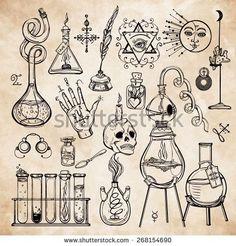Tatto Ideas 2017  Set of trendy vector Alchemy symbols...