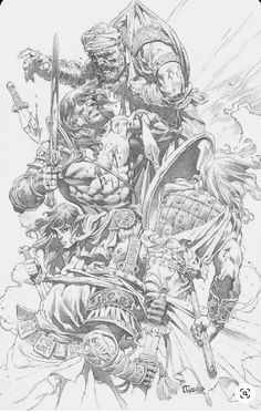 Comic Book Artists, Comic Artist, Comic Books Art, Comic Character, Character Design, Black And White Comics, Conan The Barbarian, Sword And Sorcery, Comic Panels
