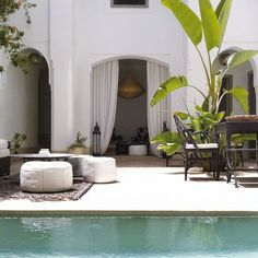 the perfect exotic lounge.riad courtyard with a pool. {Riad in Marrakech}