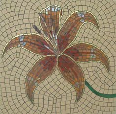 """Minerva Mosaics Gallery  """"The Gilded Lily"""" 12"""" by 12"""" Mixed glass, 24k gold, unglazed porcelain"""