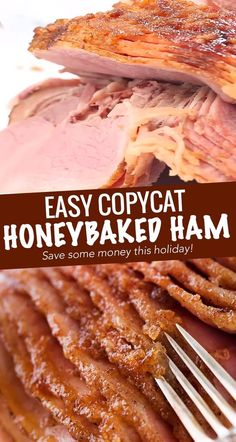 This copycat HoneyBaked ham is juicy and tender, with the most amazing crispy sweet glaze! Made with honey, sugar, and plenty of mouthwatering spices, you'll be amazed at how easy it is to make this ham at home and save a TON of money! #holiday #ham #honeybaked #thanksgiving #christmas #dinner Leftover Ham Recipes, Meat Recipes, Cooker Recipes, Mexican Food Recipes, Pre Cooked Ham Recipes, Ham In Crockpot, Baked Ham Recipes, Easy Ham Recipes, Gastronomia