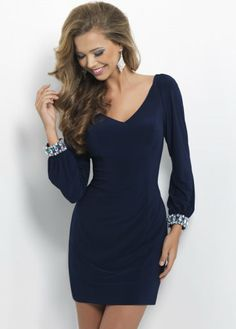 Elegant Navy V Neck Long Sleeves Homecoming Dress; this one is really elegant. I love it.