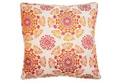 Floral Pillow, Orange. Retro chic