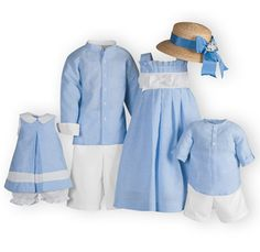 Brother-sister outfits of white and light blue striped cotton/linen. Girls dresses are fully lined. Machine wash. Imported.