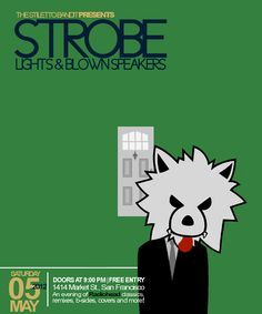 "Flyer for ""Strobe Lights & Blown Speakers"" - an annual Radiohead tribute party (San Francisco, 2012)."