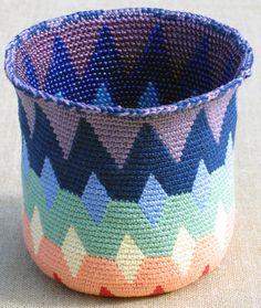 Spectral Reversible Bead Tapestry Crochet Basket for Righties | Carol Ventura