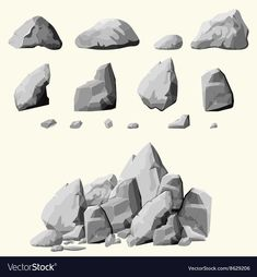 set of stones rock elements different shapes and shades of gray cartoon style boulders set flat design on white background you can simply regroup rocks vector Concept Art Tutorial, Digital Art Tutorial, Digital Painting Tutorials, Art Tutorials, Environment Painting, Environment Concept Art, Realistic Drawings, Art Drawings, Shading Drawing