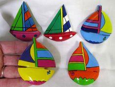 5 Vtg New Colorful Hand Painted Wood Sailboat Brooch Pins Lake 70's Boats 80's