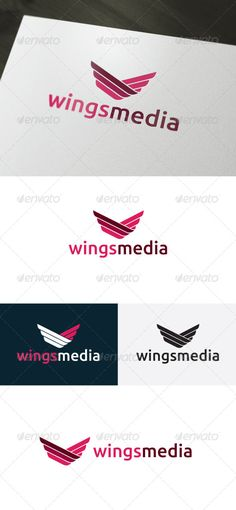 Wings Media Logo by shaoleen • Fully Editable Logo • CMYK • AI, EPS, PSD, PNG files • Easy to Change Color and Text