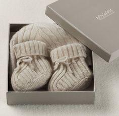 Cable Knit Cashmere Hat & Bootie Set | Cashmere | Restoration Hardware Baby & Child
