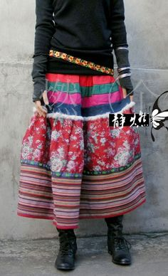 Long colourful Mongolian skirt, $85.00
