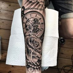 Amazing artist Lil B Hernandez @lilbtattoo cool clock rose themed forearm…