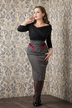 Miss Candyfloss Grey Pinstripes Skirt with Pink detail 120 14 16274 20151016 876W