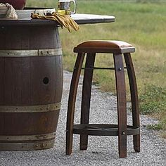 """BISTRO BARREL STOOL #201247 Make your bar area the most popular place in your home. Handcrafted stools take comfort to new heights with a cushion leather seat, flared leags and an iron base. Allow 6-8 weeks for delivery.  Bar Stool 30""""h x 20"""" sq.; Counter Stool 28""""h x 20""""sq.  $198."""