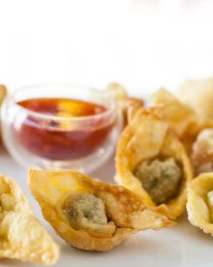 Chinese Fried Wontons Recipe :: Steamy Kitchen (these freeze for months, so you can keep them on hand for nights when you don't have a lot of time) --- SO GOOD!!! Easy to make -- my six-year-old helped me assemble half of them!