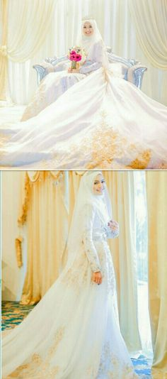 46 New Ideas For Dress Hijab Party Muslim Beautiful Muslim Wedding Gown, Malay Wedding Dress, Hijabi Wedding, Muslimah Wedding Dress, Muslim Wedding Dresses, Muslim Brides, Dream Wedding Dresses, Wedding Attire, Wedding Gowns