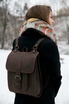Brown Leather Backpack Handmade rucksack 13 by InBagWeTrust