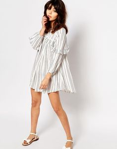 Image 4 of I Love Friday Smock Dress With Ruffle Trims In Spotted Stripe
