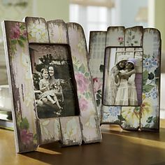 wood planks (or rulers broken) add floral papers to each and sand down to make rough. Add thick pic on top of planks https://www.facebook.com/pages/Rustic-Farmhouse-Decor/636679889706127