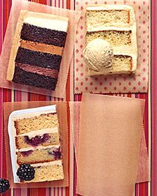 Mocha, White-Chocolate Pistachio Cake, Blackberry Buttermilk Cake. I just love the look of sliced, heavily layered cake. It makes my heart go pitter-pat.