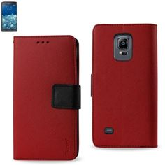 Reiko Wallet Case 3 In 1 Samsung Galaxy Note Edge Red With Interior Leather-Like Material And Polymer Cover
