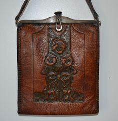 Vintage Tooled Leather Purse Art Nouveau Art Deco Arts and Crafts Turnloc clasp