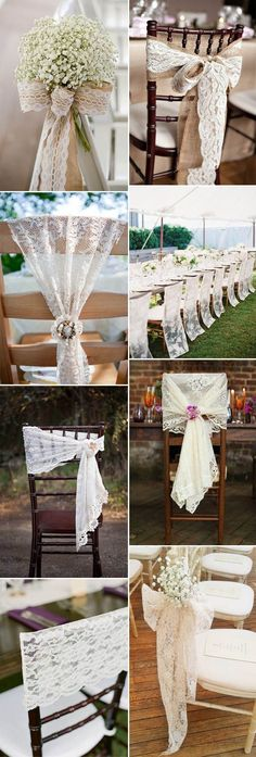 vintage wedding chair decor ideas with lace and burlap