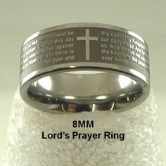 Amazon.com: Men or Womens Stainless Steel Ring, Our Father, Lords Prayer Ring with Cross Design Ring: Jewelry