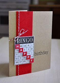 Simply Stamped: Birthday Bash Sentiments, certainly a good card for Barbara Jeanbirthday bingo - great idea for another use of the Bingo Stamp!Simply Stamped, this is cute!scrabble tiles in bingo squares--birthday bingoBingo card - want to try someth Bday Cards, Birthday Cards For Men, Handmade Birthday Cards, Diy Birthday, Greeting Cards Handmade, Rustic Birthday, Simple Birthday Cards, Card Birthday, Greeting Cards Birthday