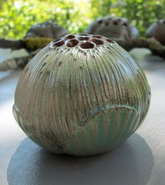 Denise Krueger/dkruegerbotanicart - Green Ceramic Holey Flower Pod 3