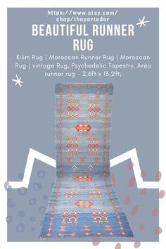 Beautiful Runner rug | Kilim Rug! Colorful moroccan rugs, moroccan rug living room, vintage moroccan rugs, moroccan rug bedroom, pink moroccan rug, black and white moroccan rug, white moroccan rug, red moroccan rug, grey moroccan rug, moroccan rug decor, round moroccan rug, moroccan rug wall hanging, boho moroccan rug, moroccan rug office, plush moroccan rug, small moroccan rug, outdoor moroccan rug. #vintagemoroccanrugs #moroccanrugbedroom #whitemoroccanrug #modernmoroccanrug Psychedelic Tapestry, Moroccan Berber Rug, Modern Moroccan, Rug Shapes, Rugs In Living Room, Kilim Rugs, Runes, Rug Runner, Vintage Rugs