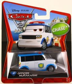 Cars 2 Officer Murakarmi by Mattel. $10.99. Disney Cars 2 Officer Murakarmi 1:55 Scale Chase Car Mattel. All your favorite characters from the Disney Pixar film, CARS 2, in 155th scale. With authentic styling and details, these die cast characters are perfect for recreating all the great scenes from the movie. Collect them all!Star racecar Lightning McQueen and the incomparable tow truck Mater take their friendship to exciting new places in Disney Pixar Cars 2 when the...