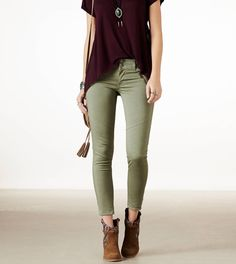Outfit idea // Free People skinny pant, maroon Cynthia Rowley top and DV booties