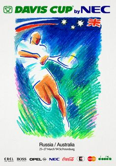 Davis Cup'1994 / Official poster of the International Tennis Tournament Davis Cup by NEC,St.Petersburg 1994 Davis Cup'1994 / Официальный постер теннисного турнира Davis Cup by NEC. Санкт-Петербург 1994 г.