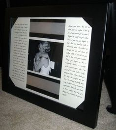 Maid of honor speech framed with a picture. Love this! Maybe do one with the best man's speech and a pic with the groom and best man