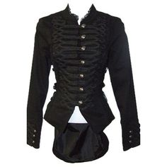 Emo Military Black Gothic Tail Jacket ($48) ❤ liked on Polyvore featuring outerwear, jackets, military style jacket, fashion military jacket, woven jacket, button jacket and gothic victorian jacket