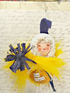 West Virginia doll ornament decoration by sugarcookiedolls on Etsy, $30.00
