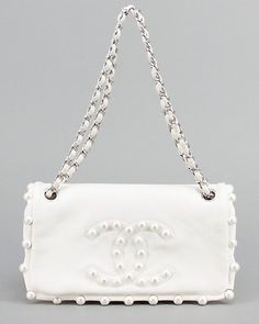 Chanel Limited Edition White Pearl Lambskin Medium Flap Bag