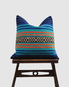 Blue Mexican Blanket Pillow Cover, Bohemian Pillow, Ethnic Pillow Cover, Boho Pillow Case, CasualPillow Case
