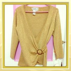 Joseph A Gold Shimmer Top Gorgeous Gold Shimmer with side buckle, wrap style, 3/4 sleeves. Worn once, still in excellent condition Joseph A Tops