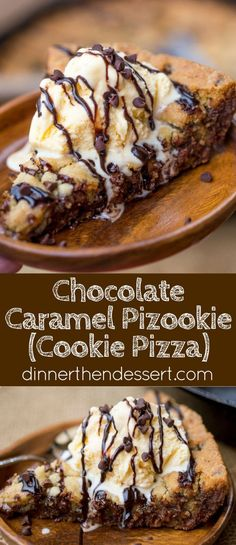 A Chocolate Caramel Pizookie with a dash of sea salt is a delicious giant deep dish cookie pizza just asking to be covered in ice cream and melted chocolate much to the delight of your loved ones!