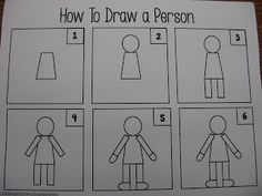 Kindergarten How to Draw a Person Person Drawing, Human Figure Drawing, Drawing People, Kindergarten Art Lessons, Kindergarten Literacy, Teach Kids To Draw, Toddler Drawing, Grade 1 Art, Directed Drawing